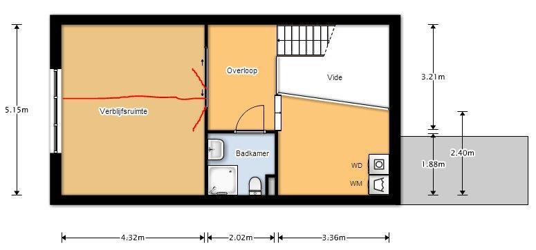 Splitsen van 1 kamer (5,15 x 4,3) naar 2 kamers, deuren zijn al aan ...