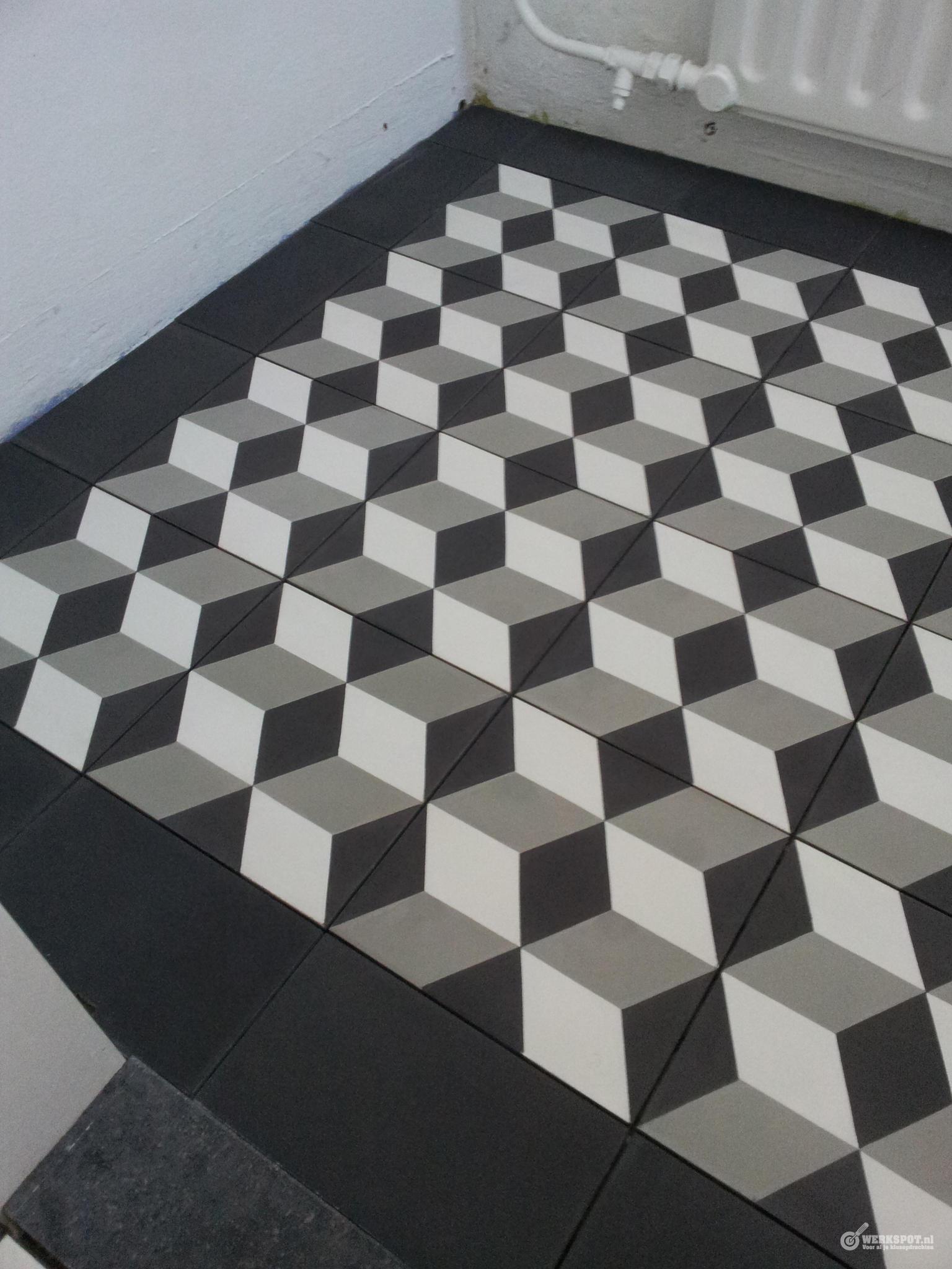 Leggen van cementtegels in halletje werkspot - Patroon cement tegels ...