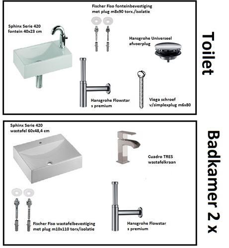 Bevestigen 2 wastafels, 1 fontein en monteren kranen en sifon  Werkspot # Wasbak Sifon_013403