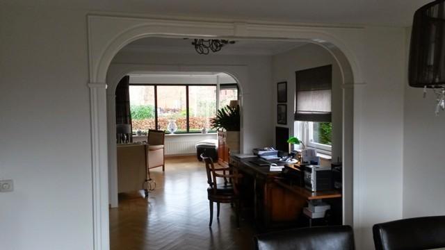 Renovatiesloop woonkamer open haard 2 togen parketvloer - Keuken en woonkamer in dezelfde kamer ...