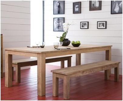 Houten gezins tafel met bankje werkspot for Houten bankje steigerhout