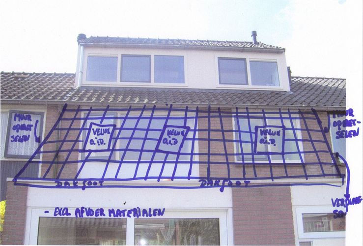 Schuin dak verlengen tot aan einde bestaande uitbouw werkspot - Pergola dak platte ...