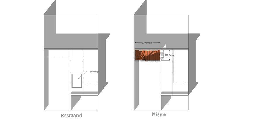 Vaste trap naar zolder met kleine verbouwing werkspot for Vlizotrap inbouwen