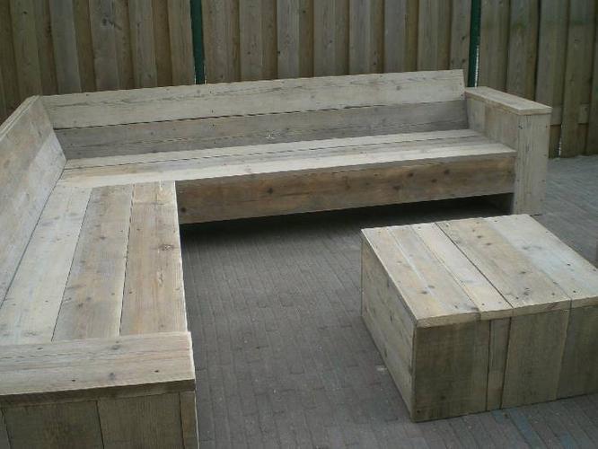 Steigerhout loungebank maken plaatsen werkspot
