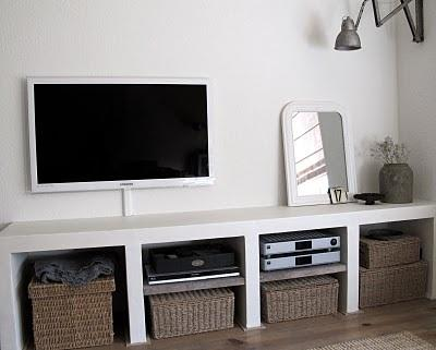 Tv meubel wandkast maken van celbetonblokken werkspot for Tv wandkast