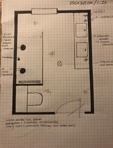 Badkamer installatie nieuwbouw 2,50 x 3,50 meter - Werkspot