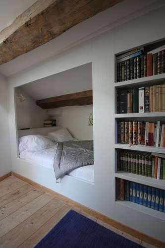 Bed inbouw schuine wand werkspot - Amenagement grenier en chambre ...