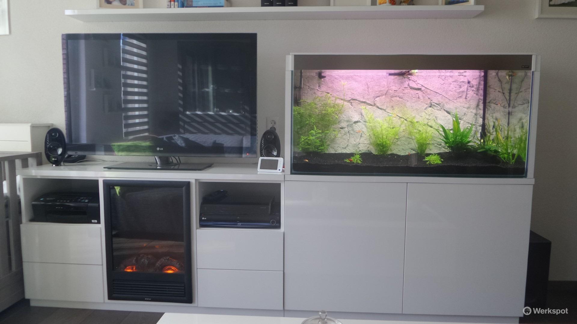 Tv Meubel Van 270cm Breed Met Aquarium En Haard Werkspot # Aquarium Meuble Tv