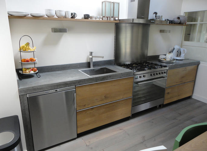 Keuken Met Betonblad : Steigerhout keuken betonblad werkspot
