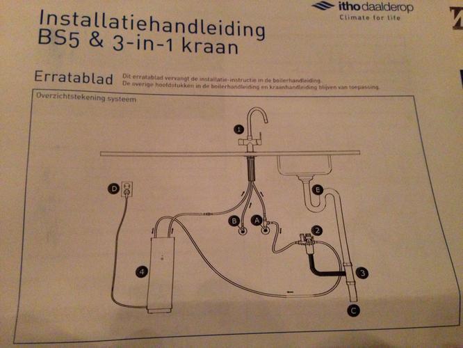 Aansluiten 3 in 1 kraan met boiler merk itho daalderop for Tuinslang aansluiten op kraan zonder schroefdraad