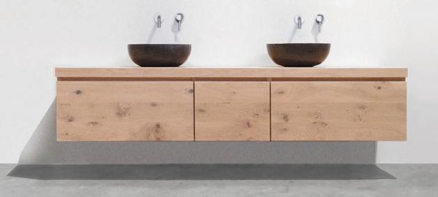 Massief houten badkamermeubel met lade maken werkspot for Zelf maken badkamermeubel