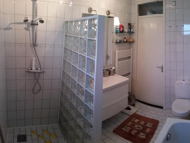 wand- en vloertegels verwijderen en afvoeren. muren egaliseren, Badkamer
