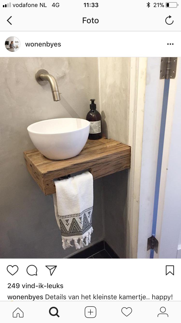 Welp steigerhouten/ teakhouten badmeubel en plateau wc fonteintje maken DY-65