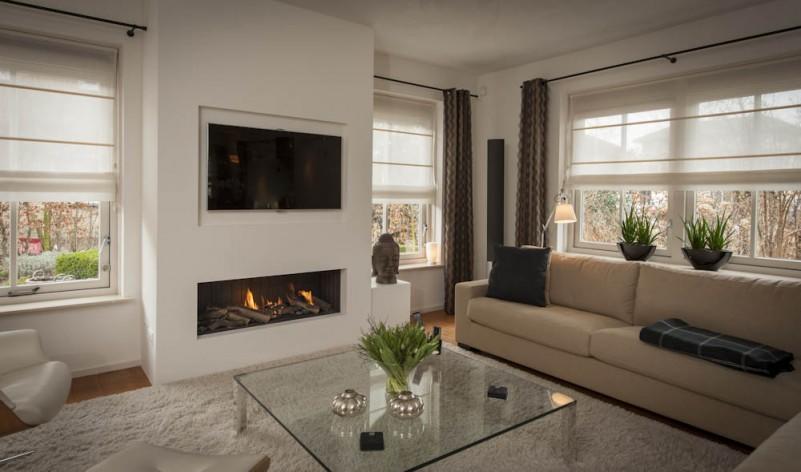 Ombouw koof tussenmuur voor tv en elektrische haard werkspot - Open haard ontwerp gas ...