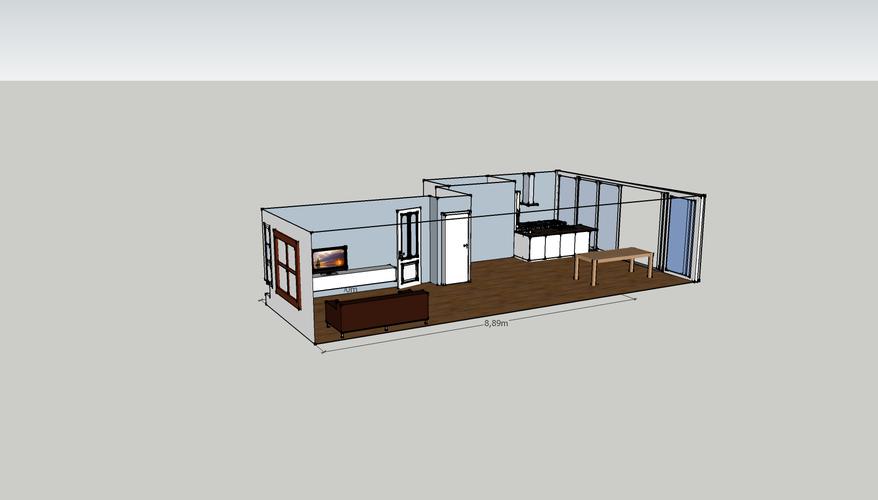 Aanbouw aan een woonkamer door een bestaande serre en keuken te ver