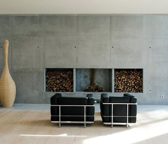 Schouw voor elektrische openhaard werkspot - Paredes de cemento ...
