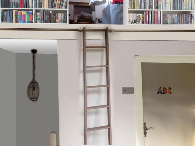 Houten trap ladder maken voor aan railing werkspot - Decoratie zolder ...