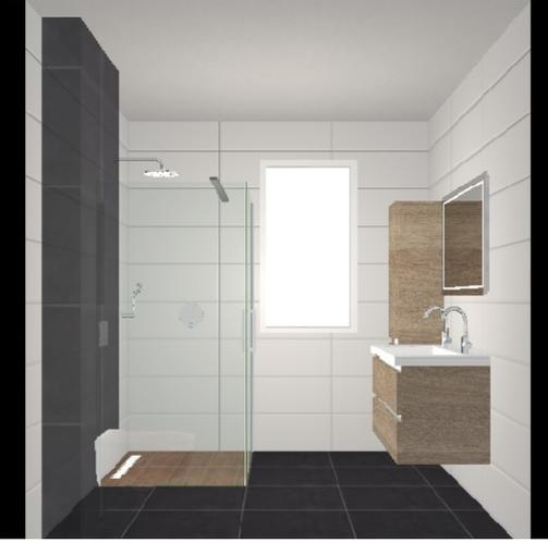 Badkamer grijs wit badkamer modern hout houten vloer g for Gang grijs en wit