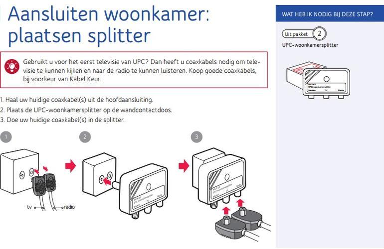 Op zoek naar UPC coaxkabel (schroefverbinding) + splitter - Werkspot