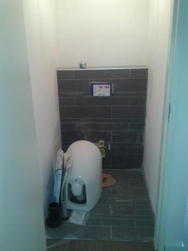 Afkitten badkamer en 2 toiletten, 65 meter: 45 m wit; 20 transparan ...
