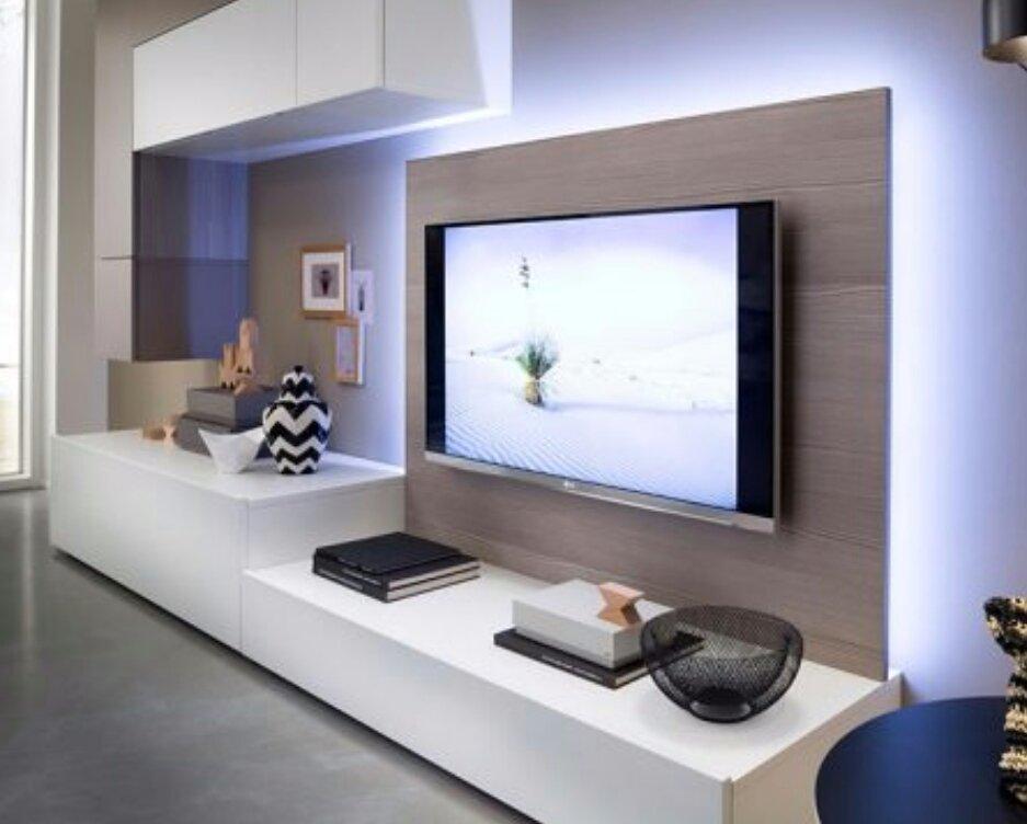 Uitgelezene Tv flatscreen achterwand met verlichting en afwerkplank tv meubel CI-87