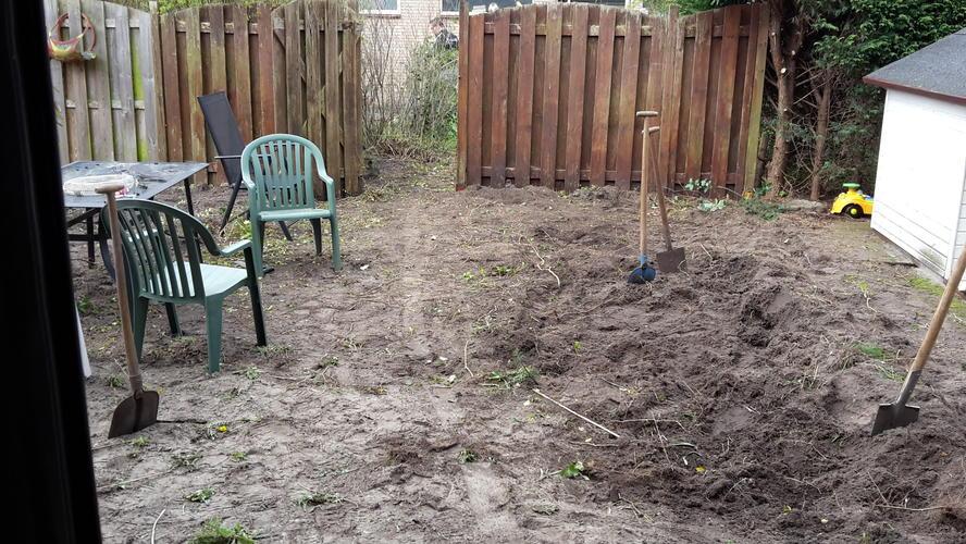 Tuin Zand Afvoeren : Tuin gereed maken voor bestraten afvoeren zwart zand wortelvrij