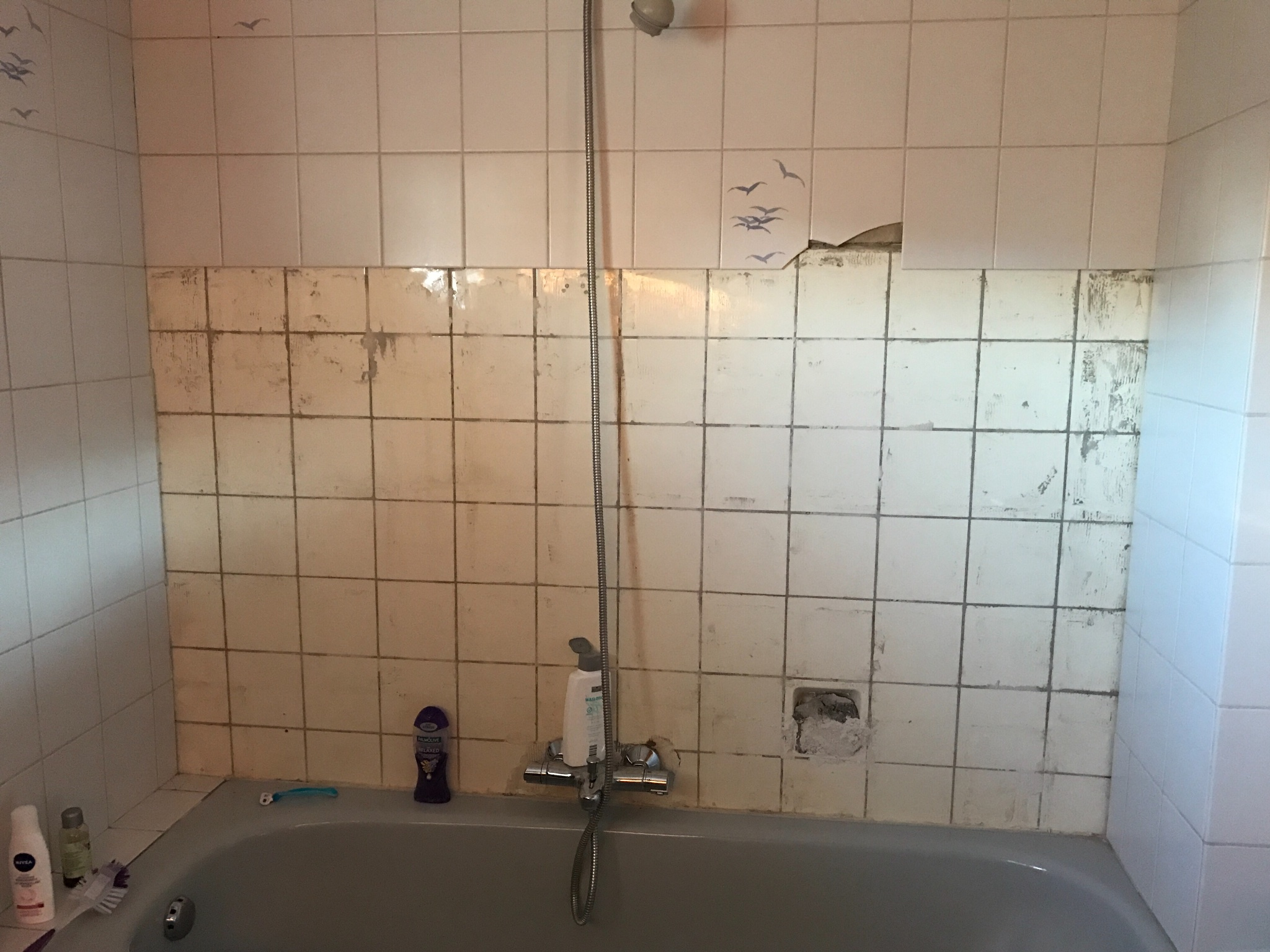 Badkamer Wand Betegelen : Stukje muur betegelen badkamer werkspot