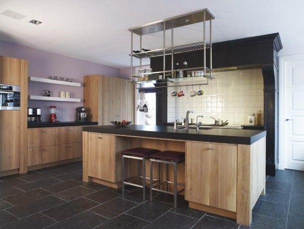 Hangend rvs open keukenrek werkspot - Interieur decoratie modern hout ...