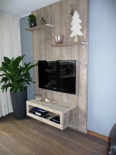 Het maken van een steigerhouten wand tv meubel werkspot for Steigerhout tv meubel maken