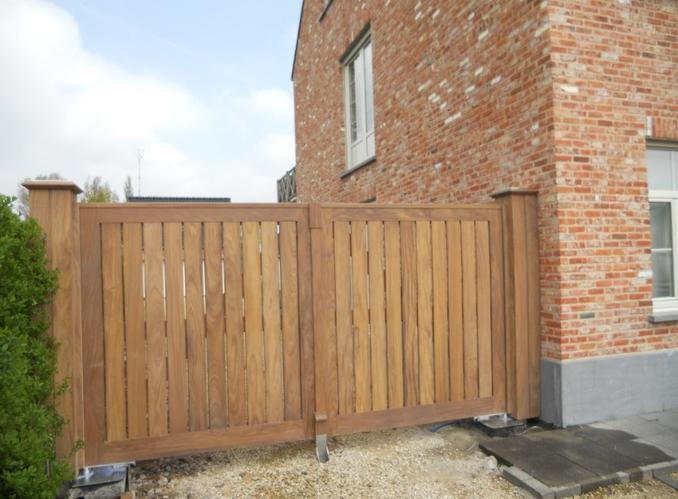 Houten poort werkspot for Ladenblok 1 meter breed