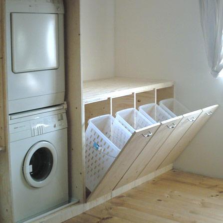 Washok Opknappen Met Inbouw Kast Voor Wasmachine En Droger