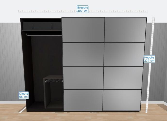 Kast Met Schuifdeuren : Ikea pax kast afmaken schuifdeuren muurbevestiging elektra