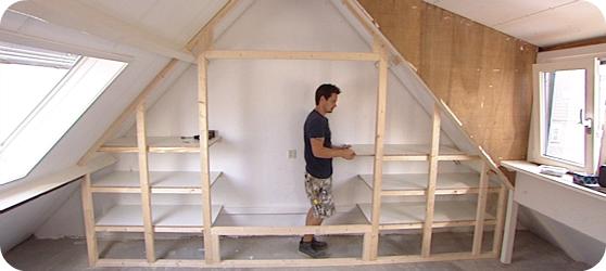 Kastenwand zolder werkspot for Foto op hout maken eigen huis en tuin