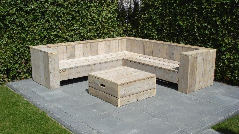 Steigerhouten tafels loungeset werkspot for Tuintafel steigerhout bouwpakket