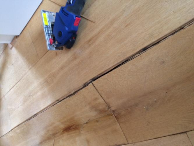 Waterschade reparatie houten eiken parket vloer werkspot
