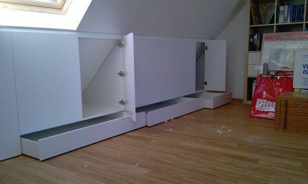 Opbergruimte kasten onder schuin dak dakkapel zolder for Zolder laten opruimen