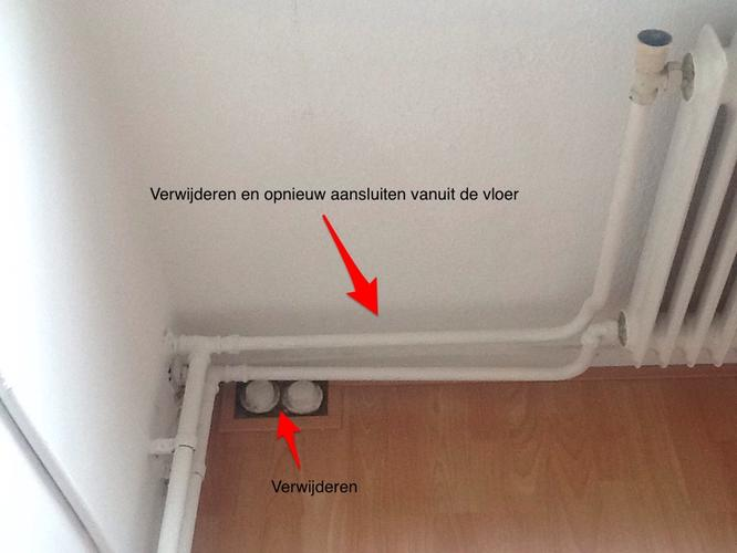 verwarmingsleidingen in vloer wegwerken en wateraanvoer
