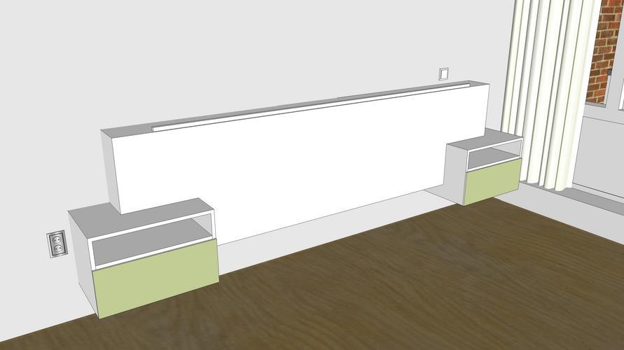 Hangend hoofdbord voor achterbed werkspot - Modern hoofdbord ...