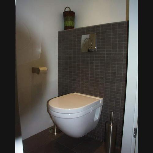 Wc verbouwen slopen tegelen hangend toilet wastafel for Toilet betegeld