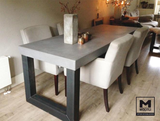 Beton cir eettafel 80 x 160 centimer werkspot - Eettafel beton wax ...
