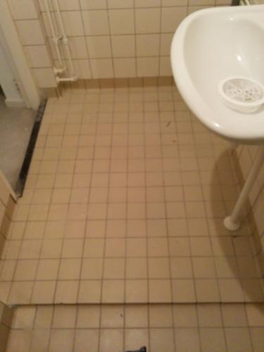 Opnieuw betegelen van badkamer waterleiding infrezen werkspot - Betegelen van natuurstenen badkamer ...