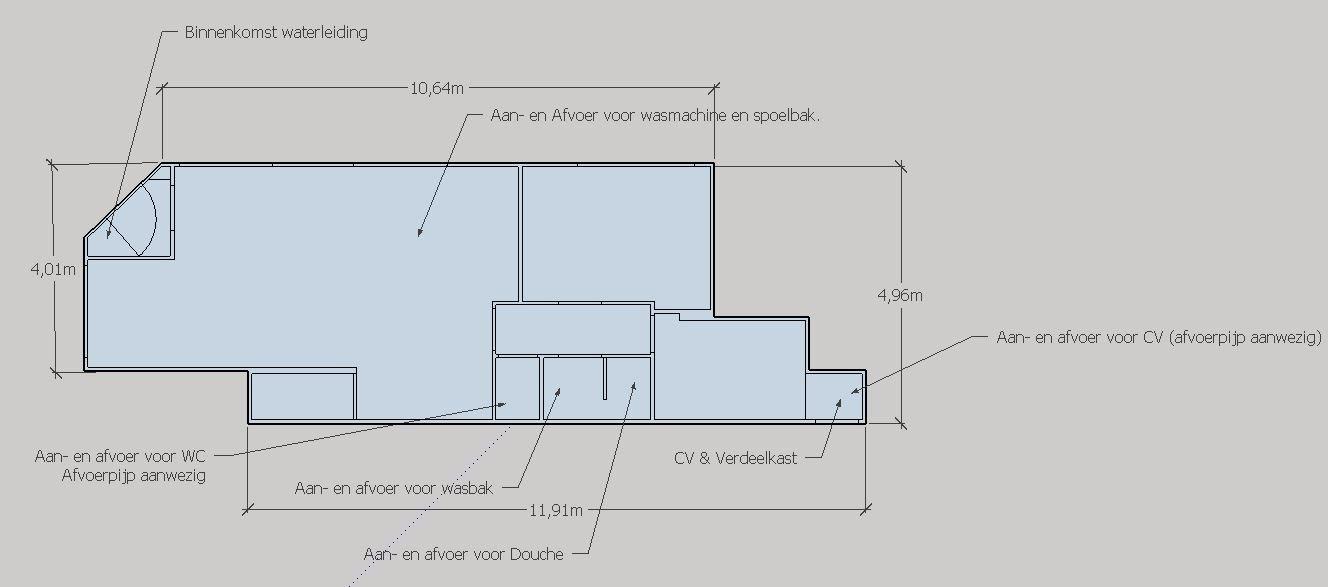 Waterleiding en riolering t.b.v. Keuken, Badkamer en CV aanleggen ...