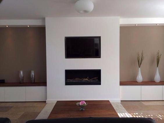 Koof met spotjes voor woonkamer+keuken en televisie nis plaatsen ...