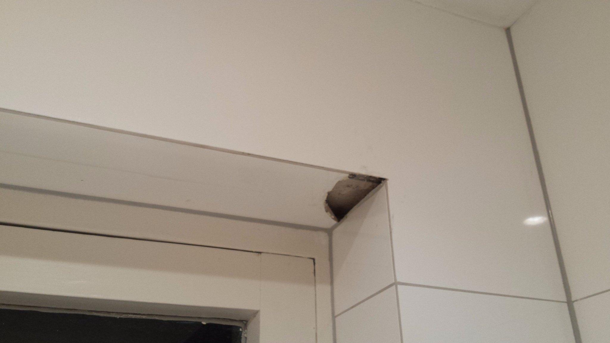 Gebroken tegel vervangen in het kozijn van de badkamer. - Werkspot