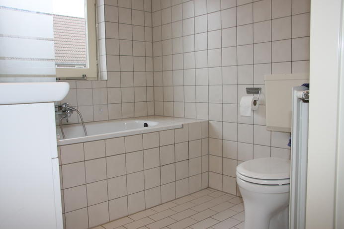 sanitair plaatsen en badkamer betegelen en toilet beneden, Badkamer