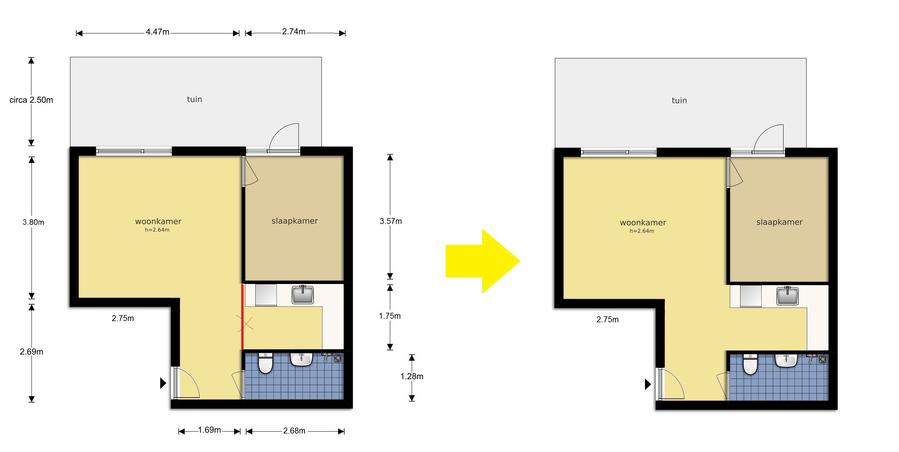 Kleine badkamer renoveren keuken draagmuur weghalen werkspot - Kleine badkamer in lengte ...