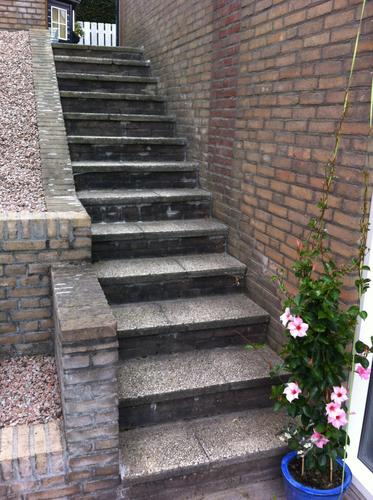 trap buiten bekleden met natuursteen werkspot