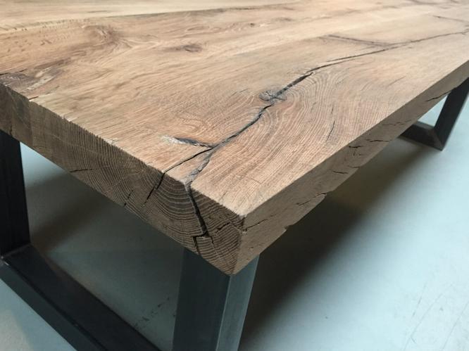 Eiken tafel met stalen frame maken werkspot