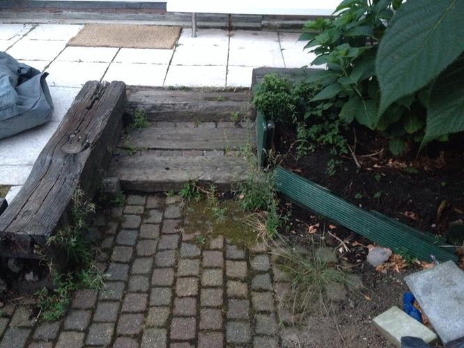 Verwijderen terras en aanleggen nieuw terras trap for Trap tuin aanleggen