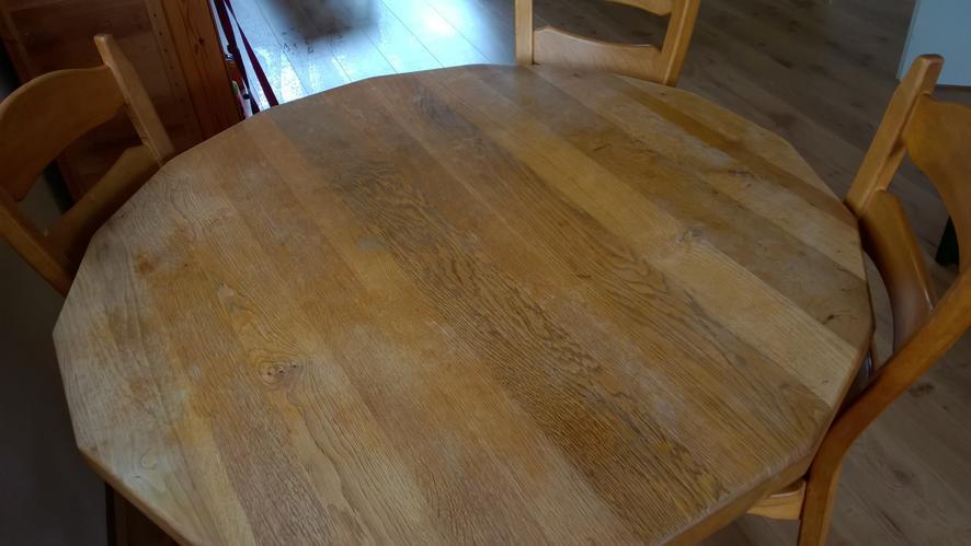 Eiken houten tafel opknappen werkspot